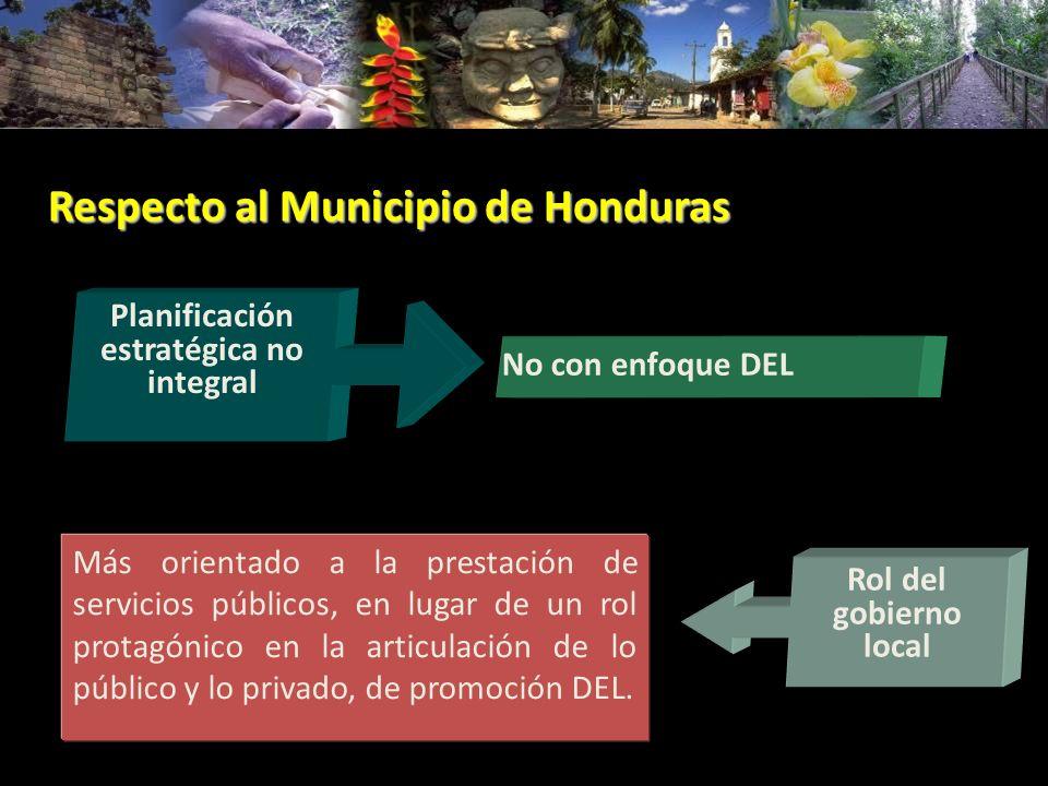 Respecto al Municipio de Honduras Más orientado a la prestación de servicios públicos, en lugar de un rol protagónico en la articulación de lo público