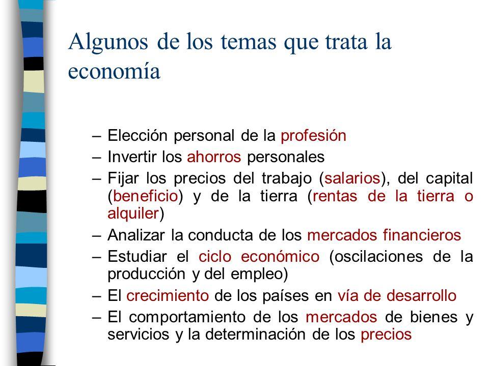 Algunos de los temas que trata la economía –Elección personal de la profesión –Invertir los ahorros personales –Fijar los precios del trabajo (salarios), del capital (beneficio) y de la tierra (rentas de la tierra o alquiler) –Analizar la conducta de los mercados financieros –Estudiar el ciclo económico (oscilaciones de la producción y del empleo) –El crecimiento de los países en vía de desarrollo –El comportamiento de los mercados de bienes y servicios y la determinación de los precios