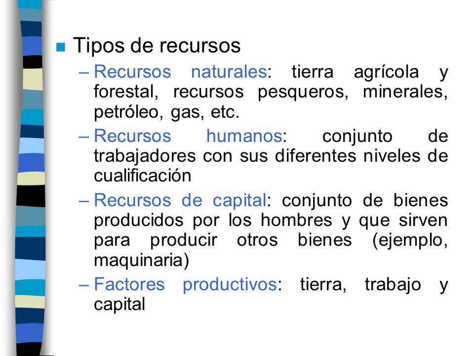 n Tipos de recursos –Recursos naturales: tierra agrícola y forestal, recursos pesqueros, minerales, petróleo, gas, etc.