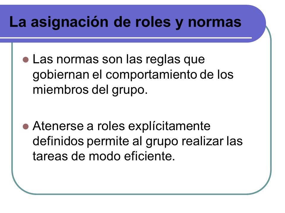 La asignación de roles y normas Las normas son las reglas que gobiernan el comportamiento de los miembros del grupo. Atenerse a roles explícitamente d