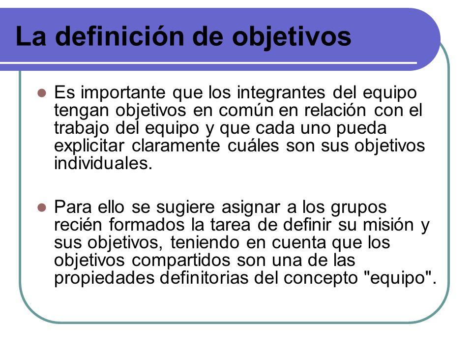 La definición de objetivos Es importante que los integrantes del equipo tengan objetivos en común en relación con el trabajo del equipo y que cada uno