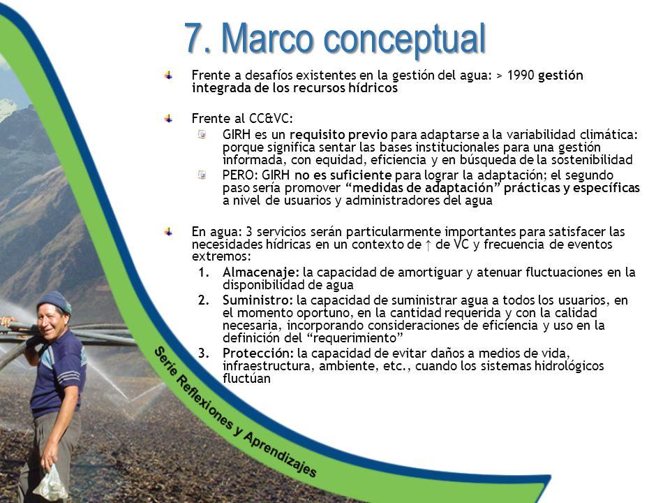 7. Marco conceptual Frente a desafíos existentes en la gestión del agua: > 1990 gestión integrada de los recursos hídricos Frente al CC&VC: GIRH es un
