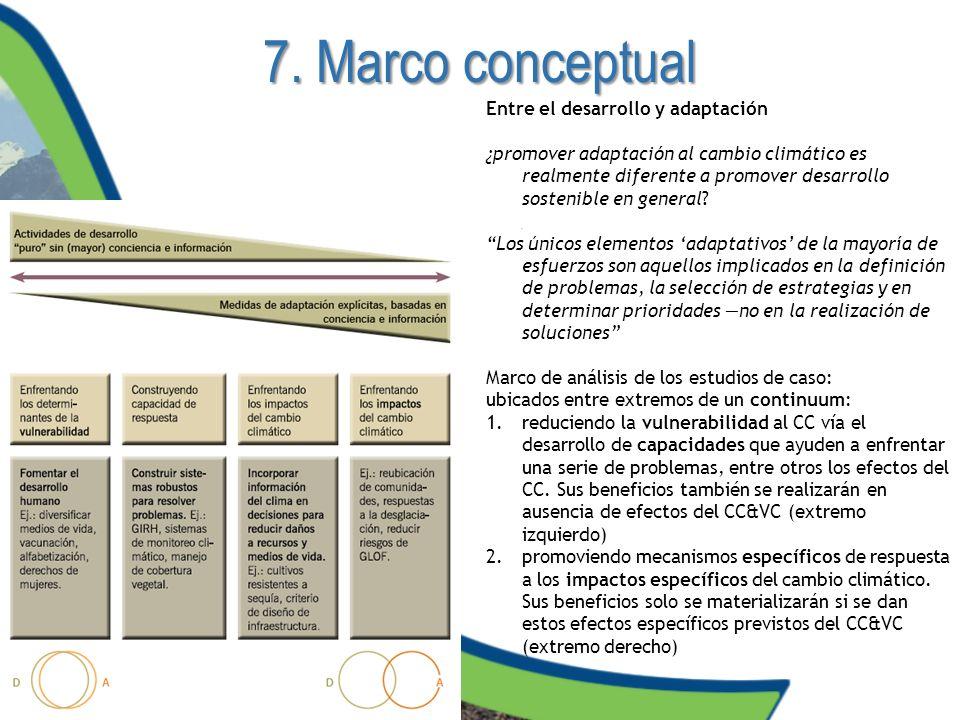 7. Marco conceptual Entre el desarrollo y adaptación ¿promover adaptación al cambio climático es realmente diferente a promover desarrollo sostenible
