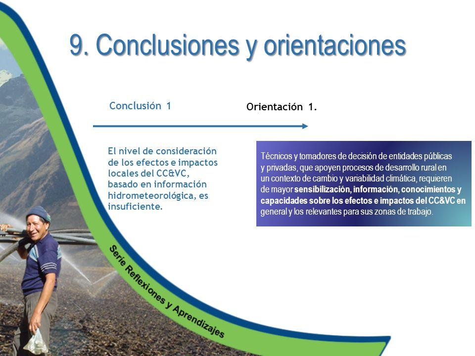 9. Conclusiones y orientaciones El nivel de consideración de los efectos e impactos locales del CC&VC, basado en información hidrometeorológica, es in