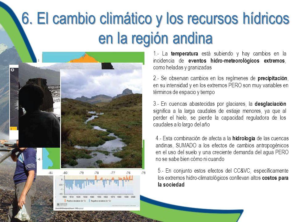 6. El cambio climático y los recursos hídricos en la región andina 1.- La temperatura está subiendo y hay cambios en la incidencia de eventos hidro-me