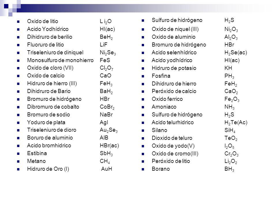 Oxido de litio L i 2 O Acido YodhídricoHI(ac) Dihidruro de berilioBeH 2 Fluoruro de litioLiF Triseleniuro de diniquelNi 2 Se 3 Monosulfuro de monohier
