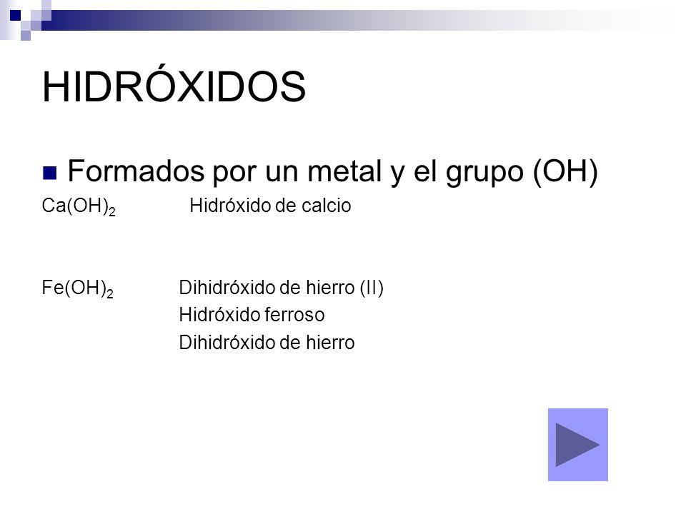HIDRÓXIDOS Formados por un metal y el grupo (OH) Ca(OH) 2 Hidróxido de calcio Fe(OH) 2 Dihidróxido de hierro (II) Hidróxido ferroso Dihidróxido de hie