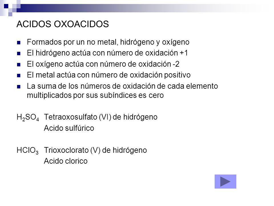 ACIDOS OXOACIDOS Formados por un no metal, hidrógeno y oxígeno El hidrógeno actúa con número de oxidación +1 El oxígeno actúa con número de oxidación
