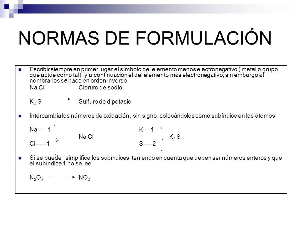 NORMAS DE FORMULACIÓN Escribir siempre en primer lugar el símbolo del elemento menos electronegativo ( metal o grupo que actúe como tal), y a continua