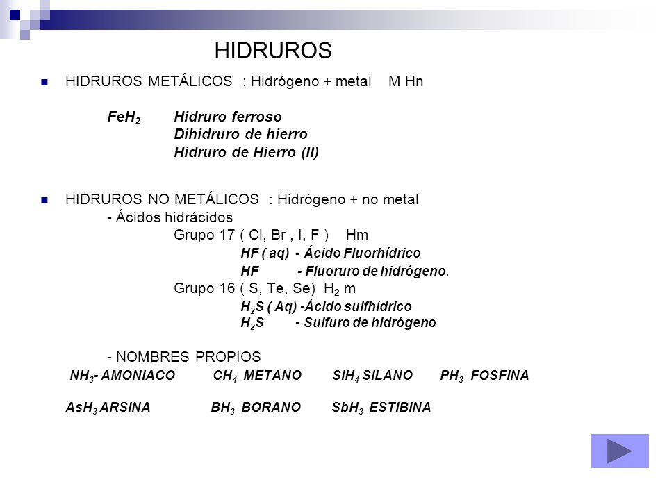 HIDRUROS METÁLICOS : Hidrógeno + metal M Hn FeH 2 Hidruro ferroso Dihidruro de hierro Hidruro de Hierro (II) HIDRUROS NO METÁLICOS : Hidrógeno + no me