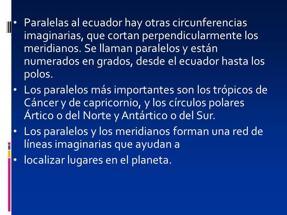 Paralelas al ecuador hay otras circunferencias imaginarias, que cortan perpendicularmente los meridianos. Se llaman paralelos y están numerados en gra
