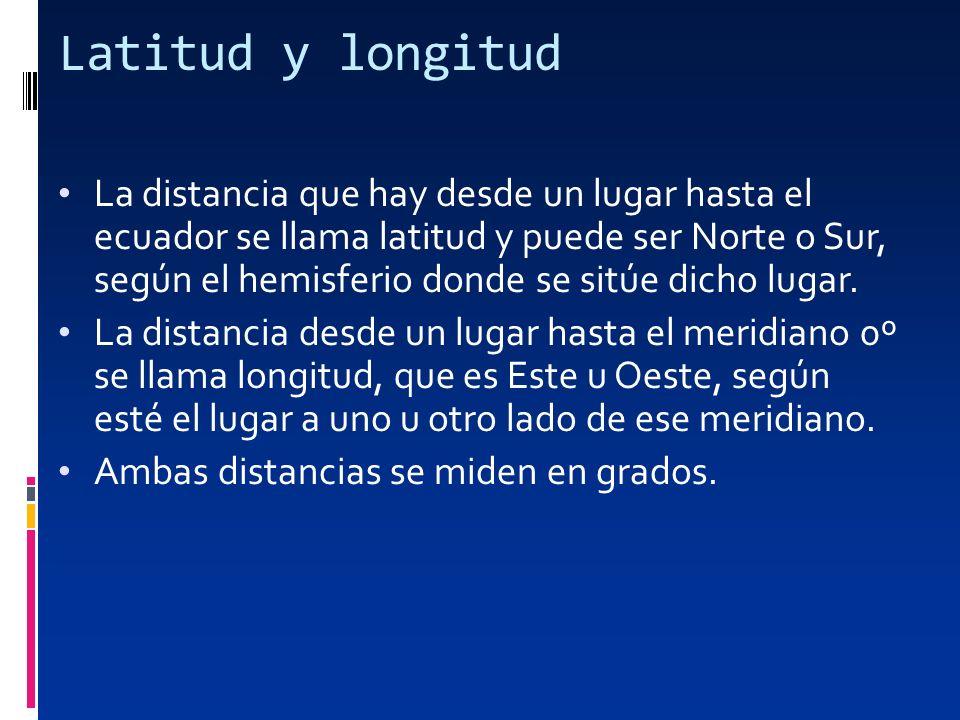 Latitud y longitud La distancia que hay desde un lugar hasta el ecuador se llama latitud y puede ser Norte o Sur, según el hemisferio donde se sitúe d