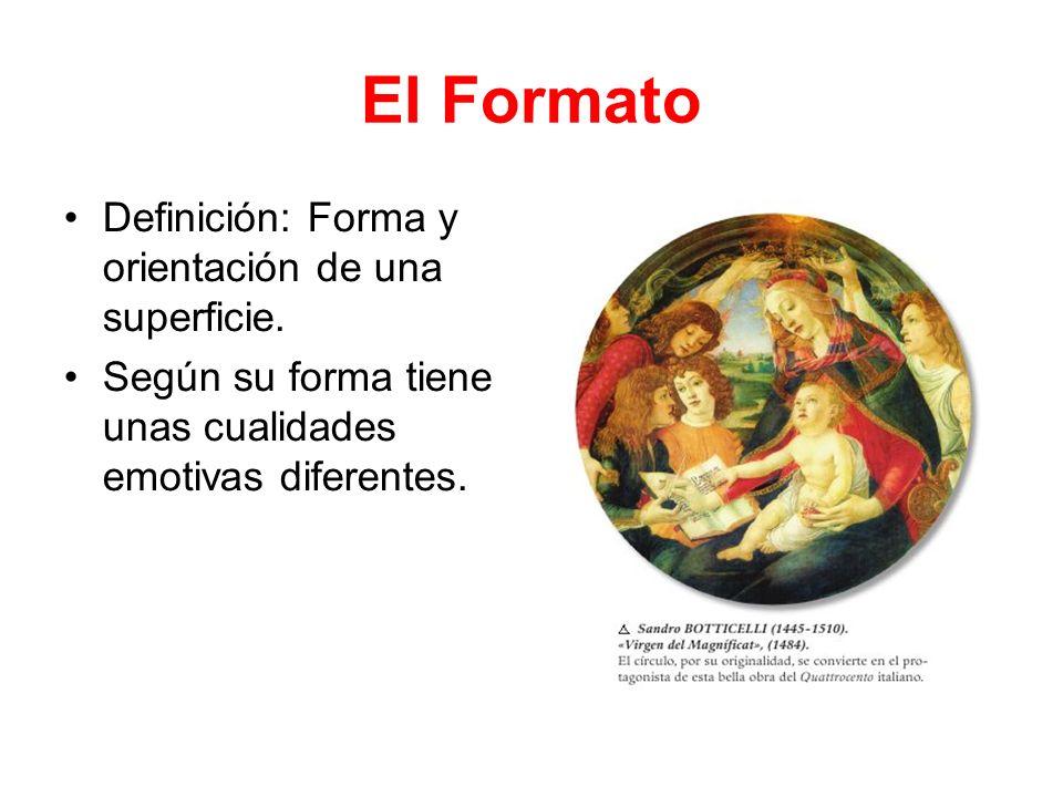 El Formato Definición: Forma y orientación de una superficie. Según su forma tiene unas cualidades emotivas diferentes.