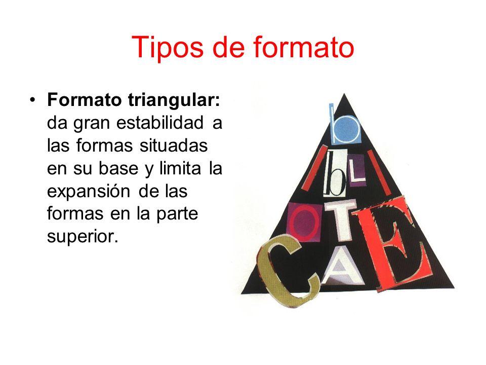 Tipos de formato Formato triangular: da gran estabilidad a las formas situadas en su base y limita la expansión de las formas en la parte superior.