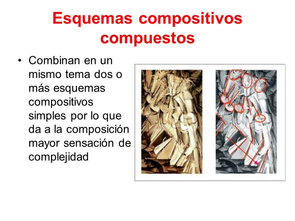 Esquemas compositivos compuestos Combinan en un mismo tema dos o más esquemas compositivos simples por lo que da a la composición mayor sensación de c