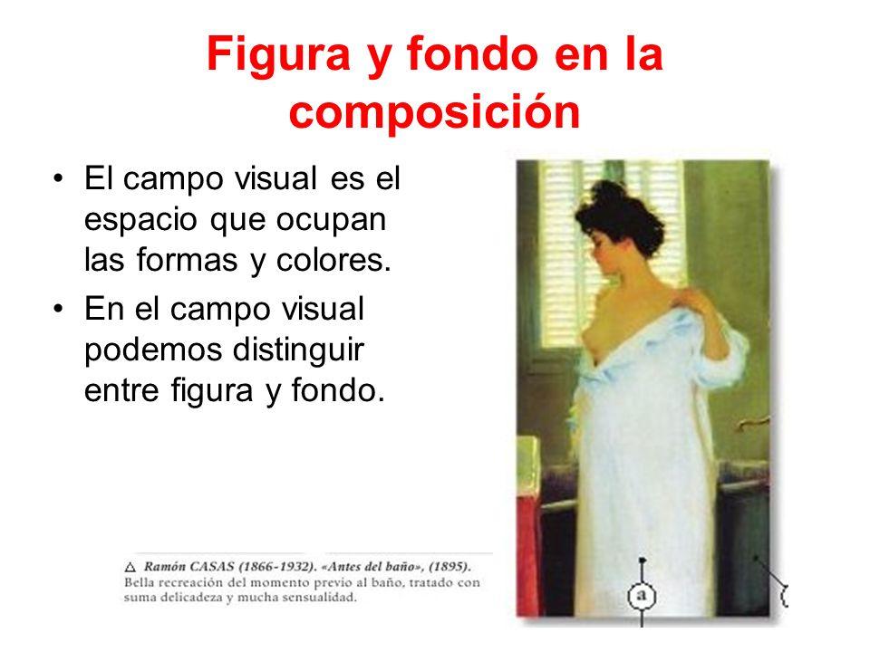 Figura y fondo en la composición El campo visual es el espacio que ocupan las formas y colores. En el campo visual podemos distinguir entre figura y f