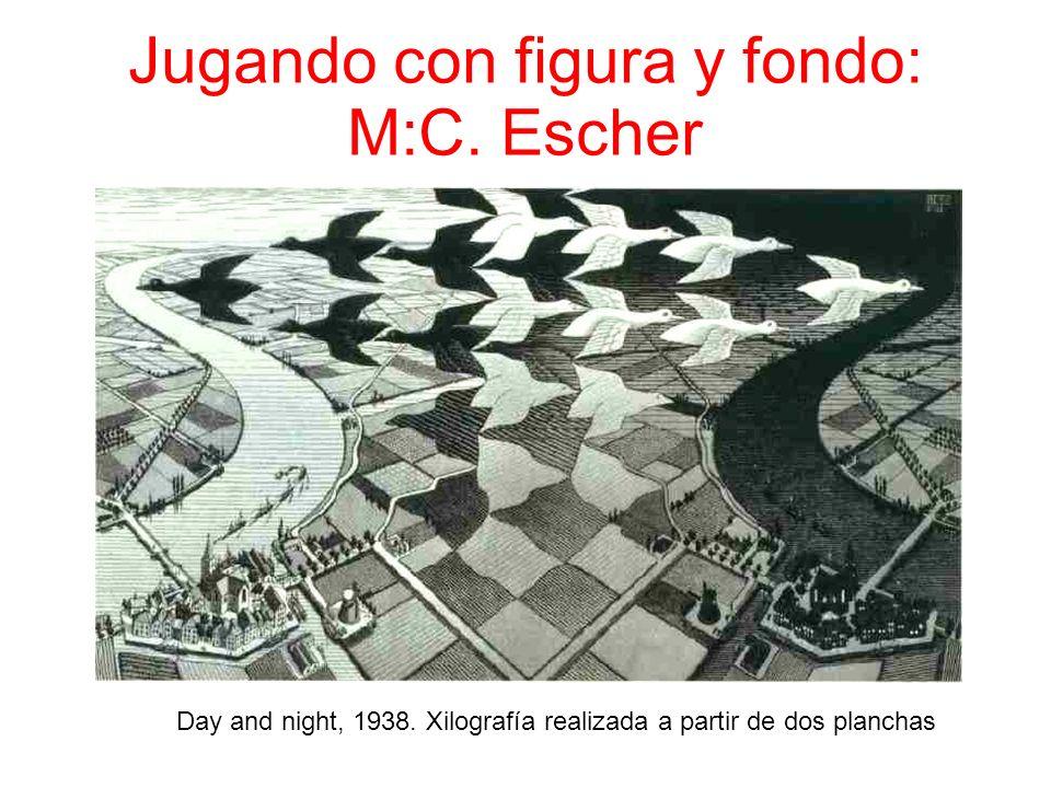 Jugando con figura y fondo: M:C. Escher Day and night, 1938. Xilografía realizada a partir de dos planchas