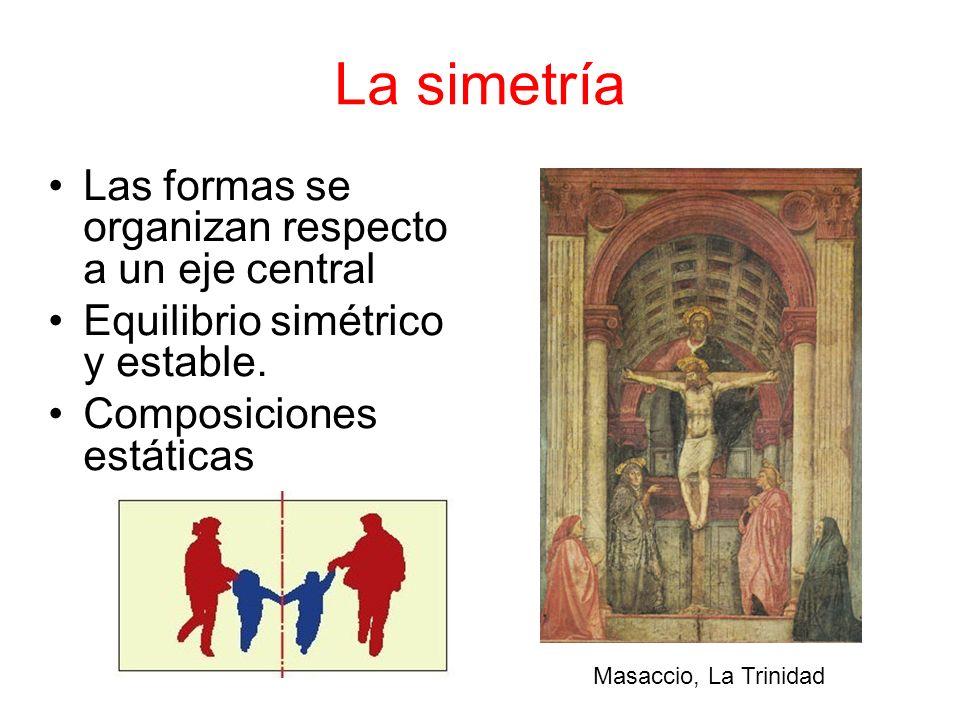 La simetría Las formas se organizan respecto a un eje central Equilibrio simétrico y estable. Composiciones estáticas Masaccio, La Trinidad