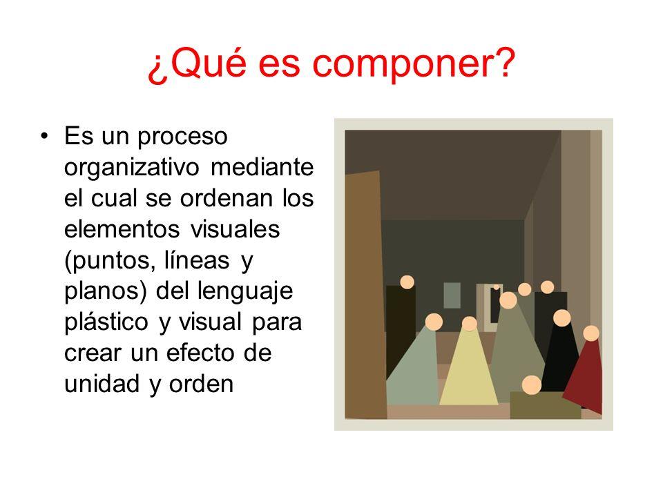 ¿Qué es componer? Es un proceso organizativo mediante el cual se ordenan los elementos visuales (puntos, líneas y planos) del lenguaje plástico y visu