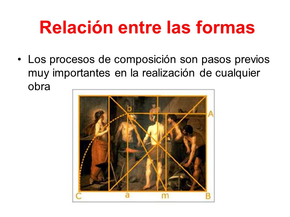 Relación entre las formas Los procesos de composición son pasos previos muy importantes en la realización de cualquier obra