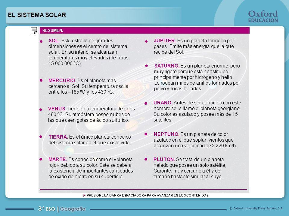 Oxford University Press España, S.A. © PRESIONE LA BARRA ESPACIADORA PARA AVANZAR EN LOS CONTENIDOS SOL. Esta estrella de grandes dimensiones es el ce