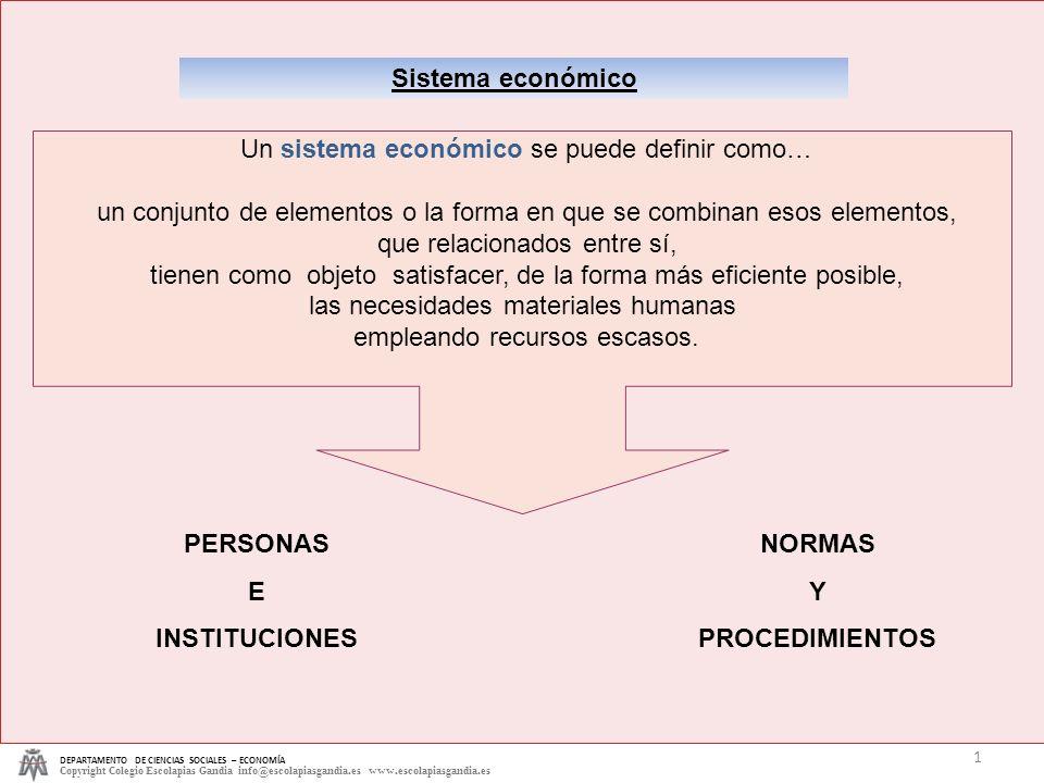DEPARTAMENTO DE CIENCIAS SOCIALES – ECONOMÍA Copyright Colegio Escolapias Gandia info@escolapiasgandia.es www.escolapiasgandia.es 1 Sistema económico