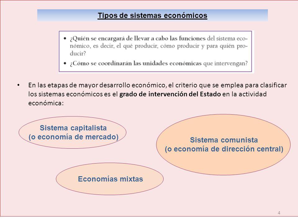 4 Tipos de sistemas económicos En las etapas de mayor desarrollo económico, el criterio que se emplea para clasificar los sistemas económicos es el gr