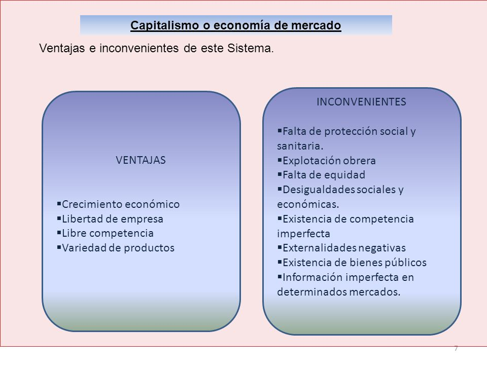 7 Capitalismo o economía de mercado Ventajas e inconvenientes de este Sistema. VENTAJAS Crecimiento económico Libertad de empresa Libre competencia Va