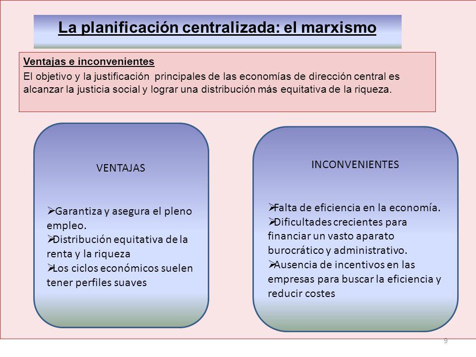 9 La planificación centralizada: el marxismo Ventajas e inconvenientes El objetivo y la justificación principales de las economías de dirección centra