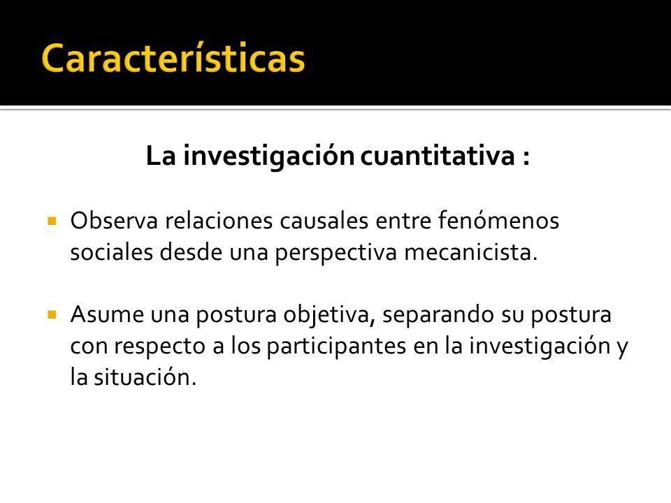 La investigación cuantitativa a : Estudia poblaciones o muestras que representen poblaciones, haciendo una medición penetrante y controlada.