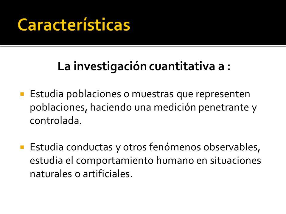 La investigación cuantitativa a : Estudia poblaciones o muestras que representen poblaciones, haciendo una medición penetrante y controlada. Estudia c