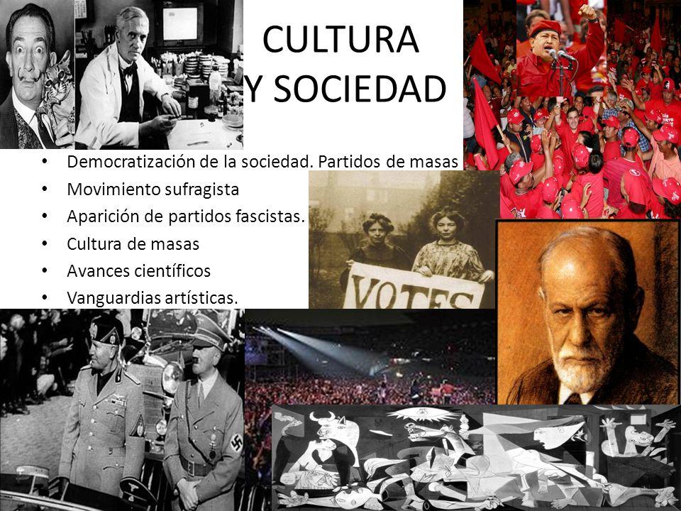 CULTURA Y SOCIEDAD Democratización de la sociedad. Partidos de masas Movimiento sufragista Aparición de partidos fascistas. Cultura de masas Avances c