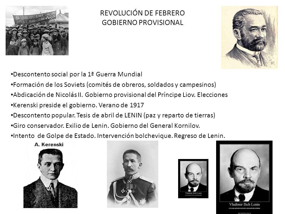 REVOLUCIÓN DE FEBRERO GOBIERNO PROVISIONAL Descontento social por la 1ª Guerra Mundial Formación de los Soviets (comités de obreros, soldados y campes