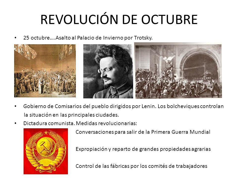 REVOLUCIÓN DE OCTUBRE 25 octubre….Asalto al Palacio de Invierno por Trotsky. Gobierno de Comisarios del pueblo dirigidos por Lenin. Los bolcheviques c