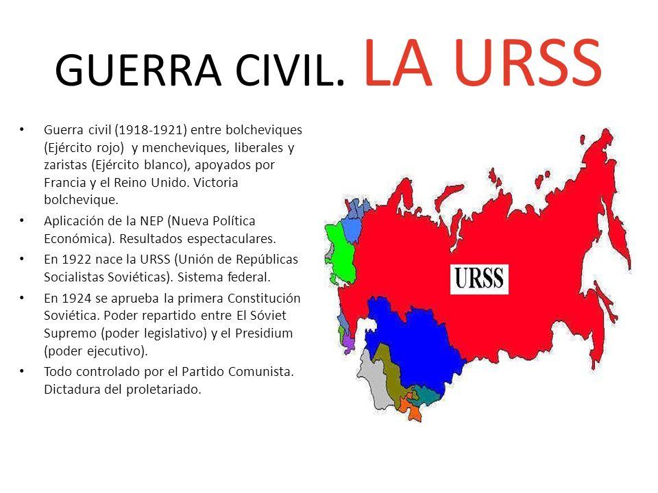GUERRA CIVIL. LA URSS Guerra civil (1918-1921) entre bolcheviques (Ejército rojo) y mencheviques, liberales y zaristas (Ejército blanco), apoyados por