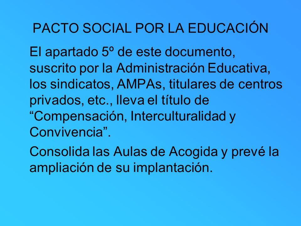 PACTO SOCIAL POR LA EDUCACIÓN El apartado 5º de este documento, suscrito por la Administración Educativa, los sindicatos, AMPAs, titulares de centros