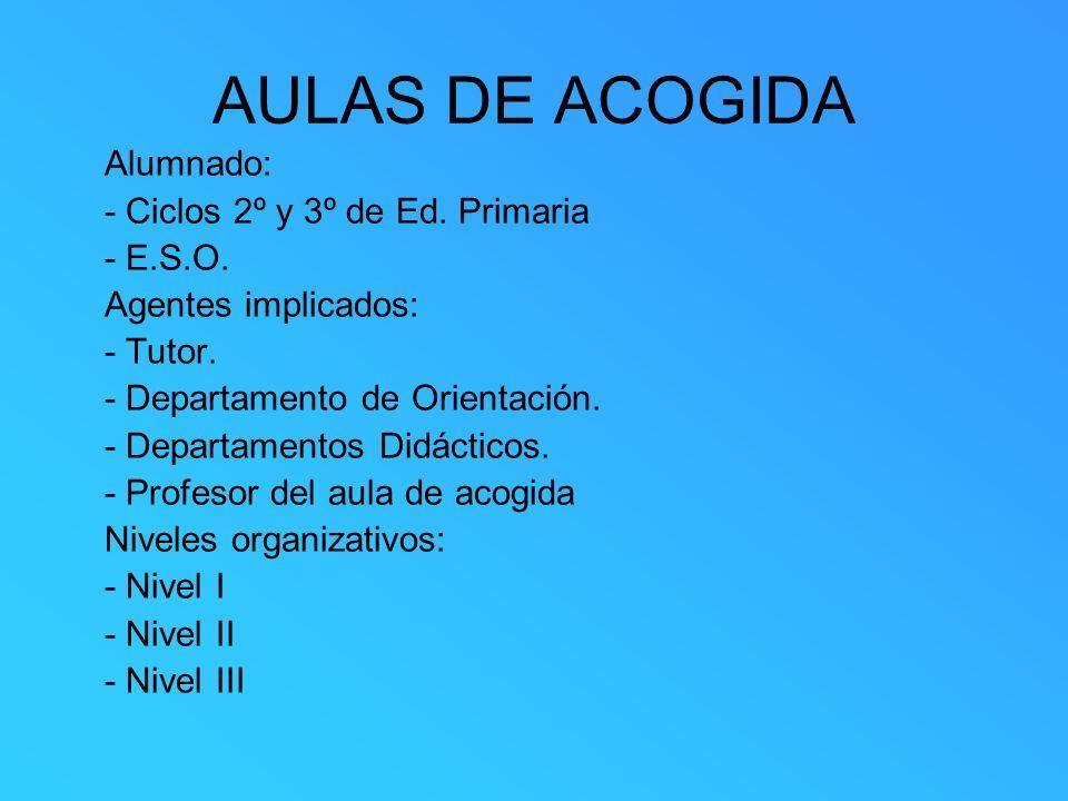 AULAS DE ACOGIDA Alumnado: - Ciclos 2º y 3º de Ed. Primaria - E.S.O. Agentes implicados: - Tutor. - Departamento de Orientación. - Departamentos Didác