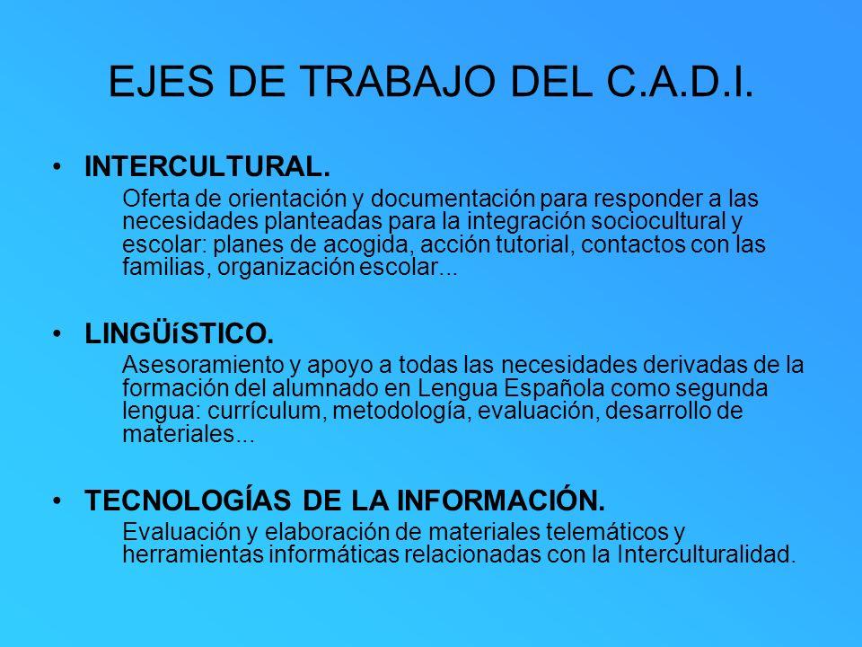 EJES DE TRABAJO DEL C.A.D.I. INTERCULTURAL. Oferta de orientación y documentación para responder a las necesidades planteadas para la integración soci