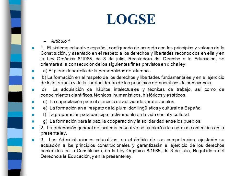 LOGSE –Artículo 1 n 1. El sistema educativo español, configurado de acuerdo con los principios y valores de la Constitución, y asentado en el respeto