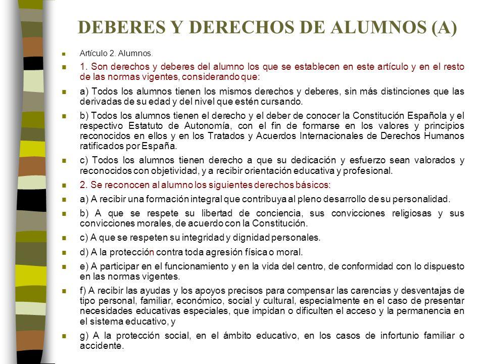DEBERES Y DERECHOS DE ALUMNOS (A) n Artículo 2. Alumnos. n 1. Son derechos y deberes del alumno los que se establecen en este artículo y en el resto d