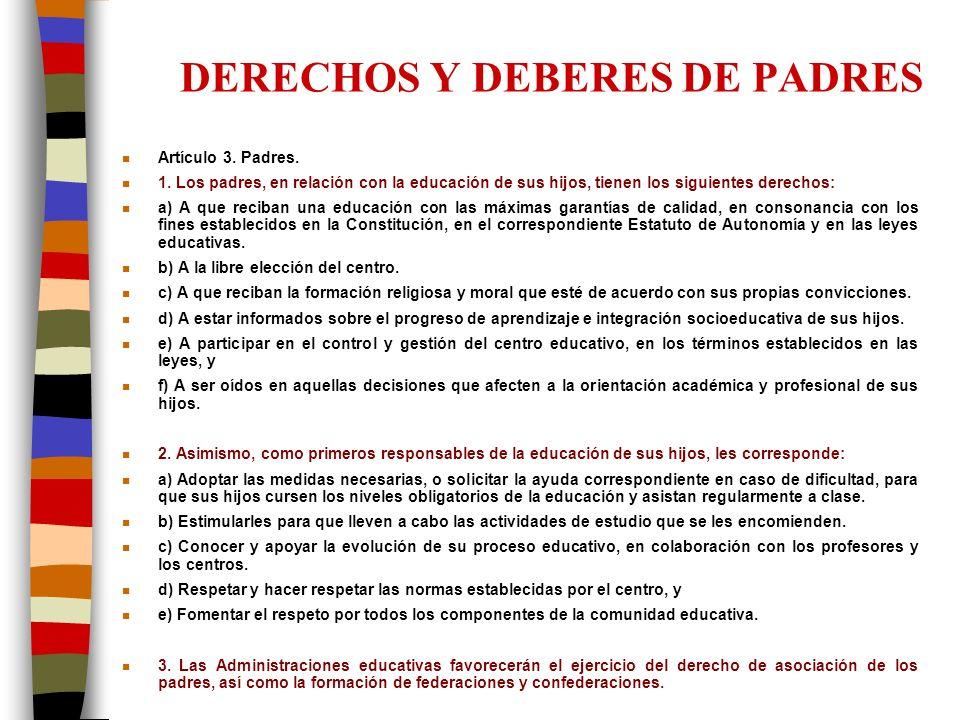 DERECHOS Y DEBERES DE PADRES n Artículo 3. Padres. n 1. Los padres, en relación con la educación de sus hijos, tienen los siguientes derechos: n a) A
