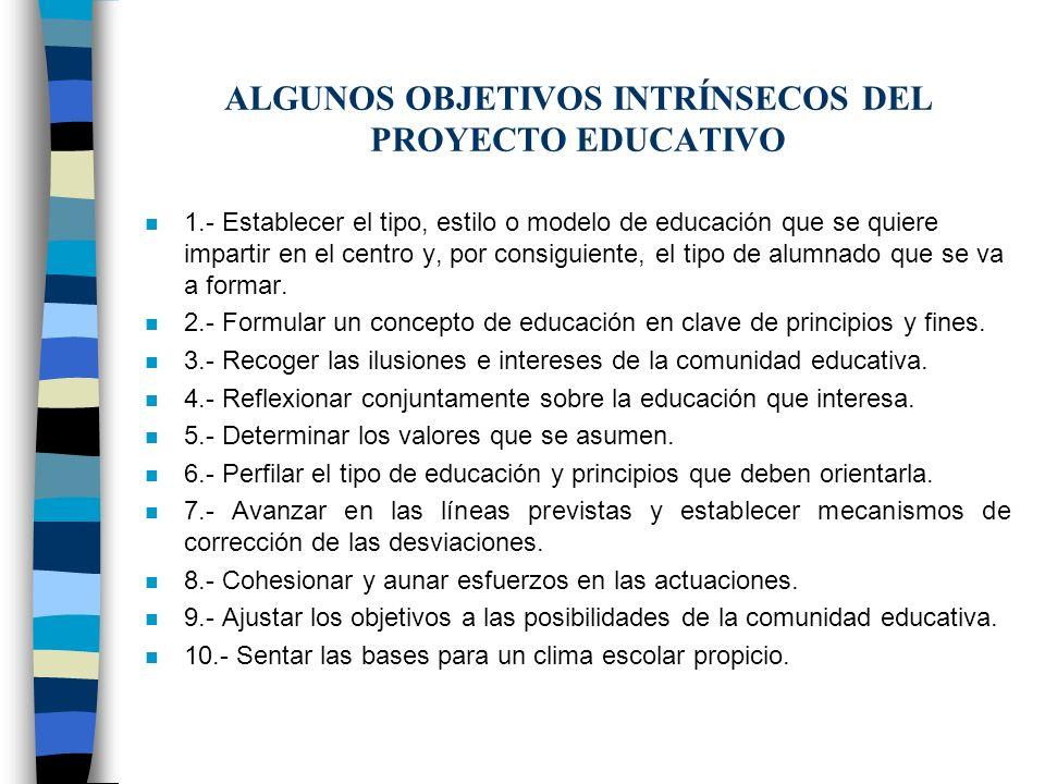 ALGUNOS OBJETIVOS INTRÍNSECOS DEL PROYECTO EDUCATIVO n 1.- Establecer el tipo, estilo o modelo de educación que se quiere impartir en el centro y, por
