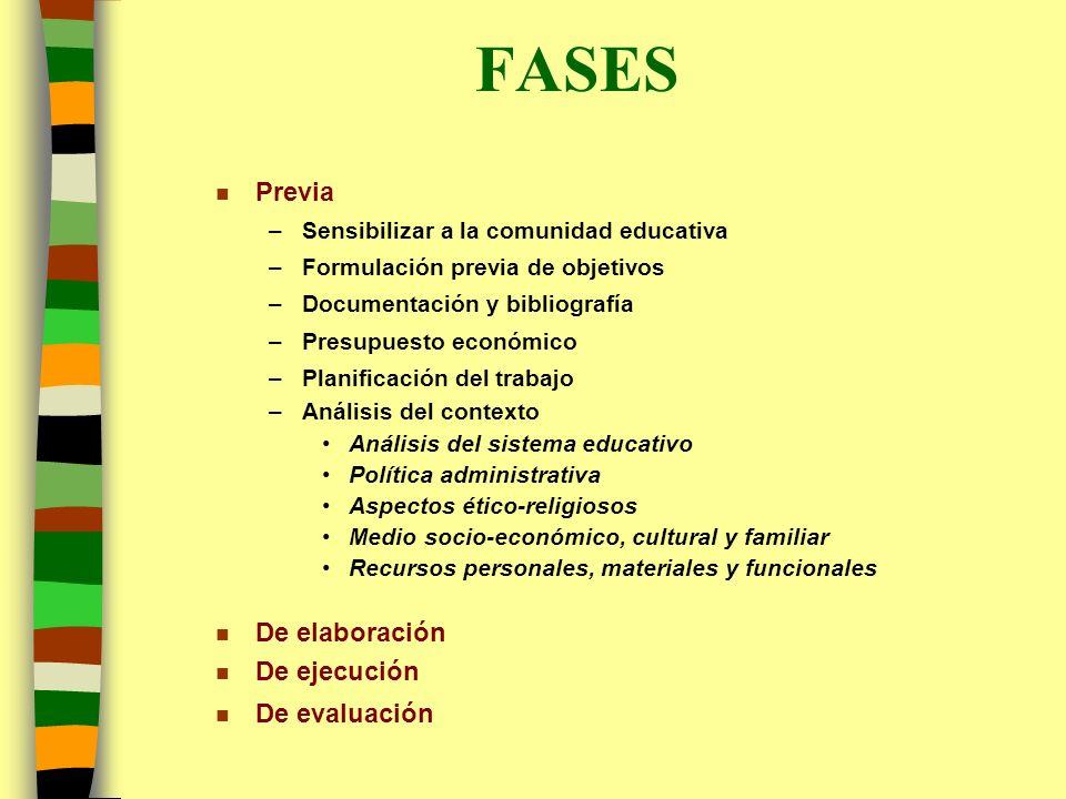 FASES n Previa –Sensibilizar a la comunidad educativa –Formulación previa de objetivos –Documentación y bibliografía –Presupuesto económico –Planifica