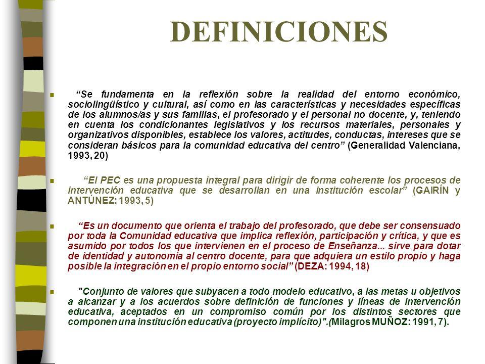 DEFINICIONES n Se fundamenta en la reflexión sobre la realidad del entorno económico, sociolingüístico y cultural, así como en las características y n