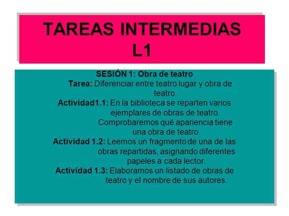 TAREAS INTERMEDIAS L1 SESIÓN 1: Obra de teatro Tarea: Diferenciar entre teatro lugar y obra de teatro. Actividad1.1: En la biblioteca se reparten vari