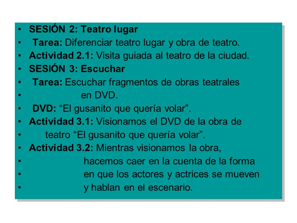 SESIÓN 2: Teatro lugar Tarea: Diferenciar teatro lugar y obra de teatro. Actividad 2.1: Visita guiada al teatro de la ciudad. SESIÓN 3: Escuchar Tarea