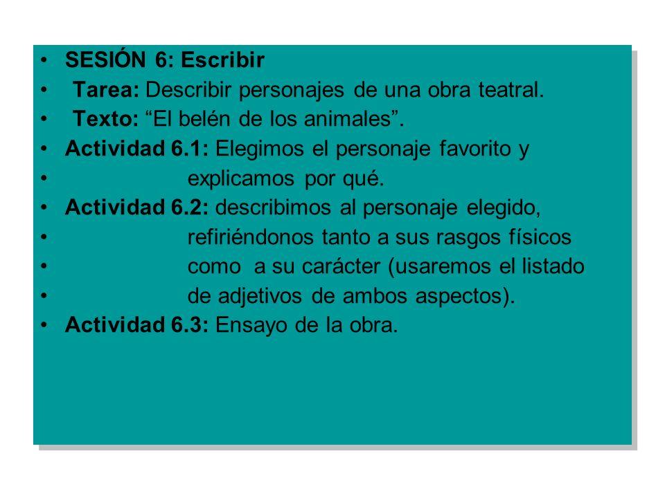 SESIÓN 6: Escribir Tarea: Describir personajes de una obra teatral. Texto: El belén de los animales. Actividad 6.1: Elegimos el personaje favorito y e