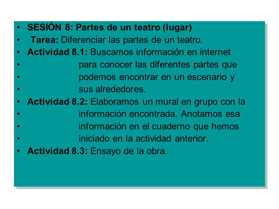 SESIÓN 8: Partes de un teatro (lugar) Tarea: Diferenciar las partes de un teatro. Actividad 8.1: Buscamos información en internet para conocer las dif