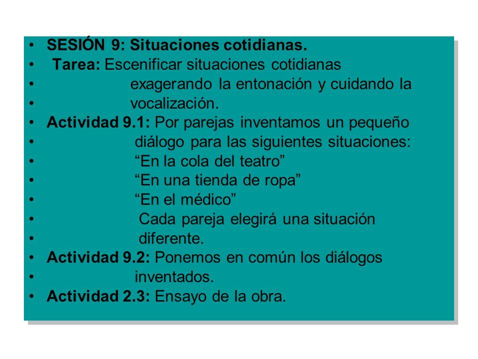 SESIÓN 9: Situaciones cotidianas. Tarea: Escenificar situaciones cotidianas exagerando la entonación y cuidando la vocalización. Actividad 9.1: Por pa