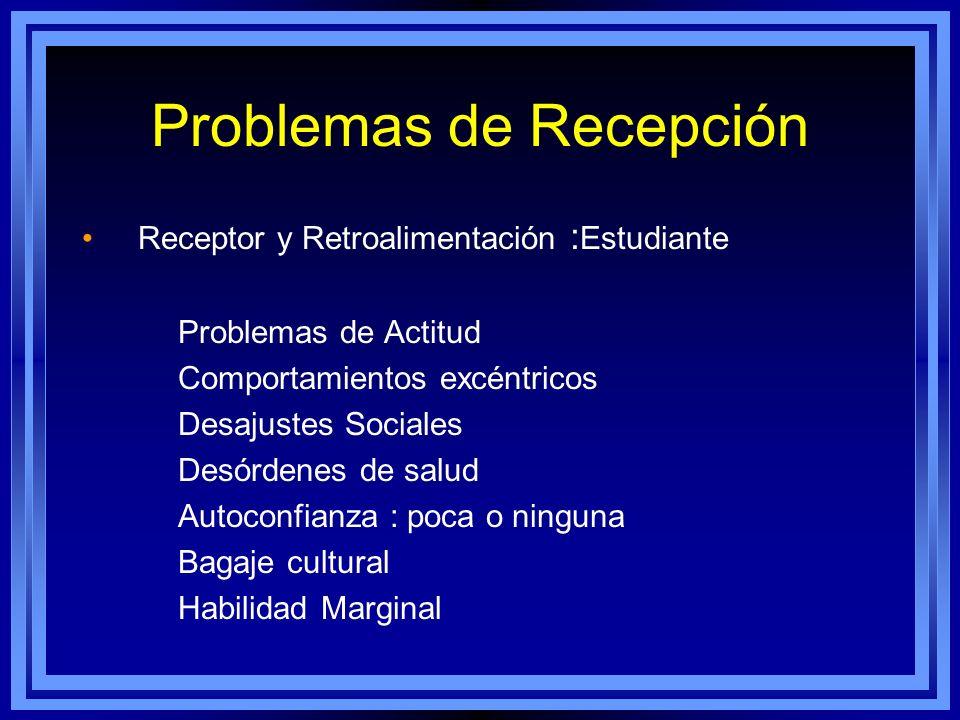 Problemas de Recepción Receptor y Retroalimentación : Estudiante Problemas de Actitud Comportamientos excéntricos Desajustes Sociales Desórdenes de sa